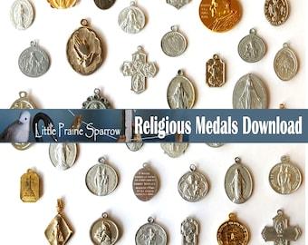 Vintage Religious Medals Digital Download, Prayer Journal Accent Printable Saint Charm Collage Sheet Junk Journal Supply Spiritual Scrapbook