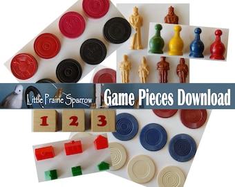 Vintage Game Pieces Digital Download, Printable Game Chips Ephemera Sheets, Junk Journal, Family Game Night Scrapbook, Embellishments