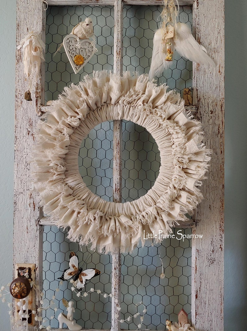 Farmhouse Style Drop Cloth Wreath Rustic Wedding Prop Ready image 0