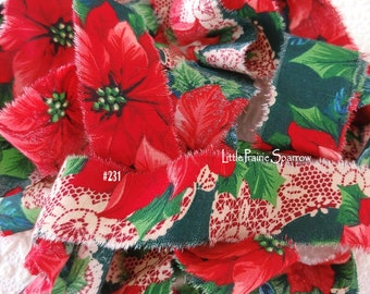 Hand Torn Christmas Red & Green Poinsettia Print Frayed Fabric Ribbon for Journal, Sewing, Holiday Gift Bow, Wreath Accent Bow, Tree Garland