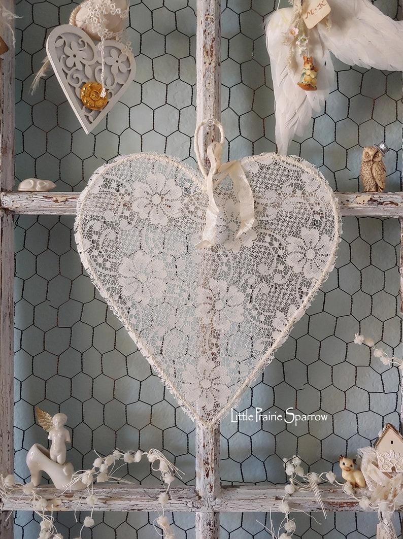 Heart Decor Wedding Prop Flower Girl Lace Heart Wreath image 0