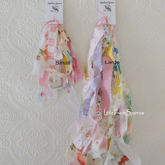 Two Bundles Collection of Hand Torn Fabric StripsRibbon for Journals Crafts Rag Ties etc snippet Roll Slow Stitch