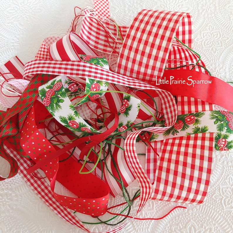 Christmas Ribbon Bundle 16 Piece Kit Junk Journal image 0