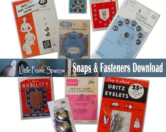 Vintage Snaps & Fasteners Digital Download, Printable Sewing Notion Ephemera Collage Sheets, Junk Journal, Tags, Scrapbooking Embellishments