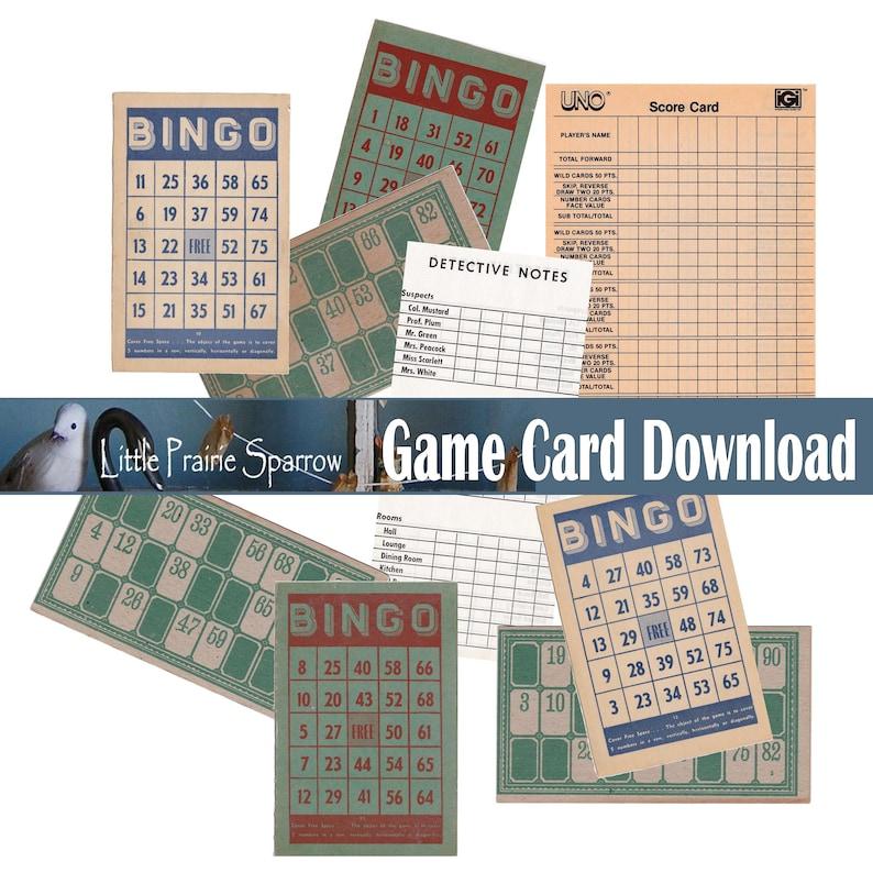 Vintage Game Card Digital Download Printable Bingo & Lotto image 0