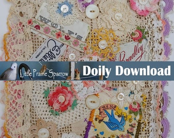 Vintage Doily Digital Download, Printable Collage Sheet, Button and Lace Embellishment, Junk Journal Supply, Tag & Card Making, Scrapbooking