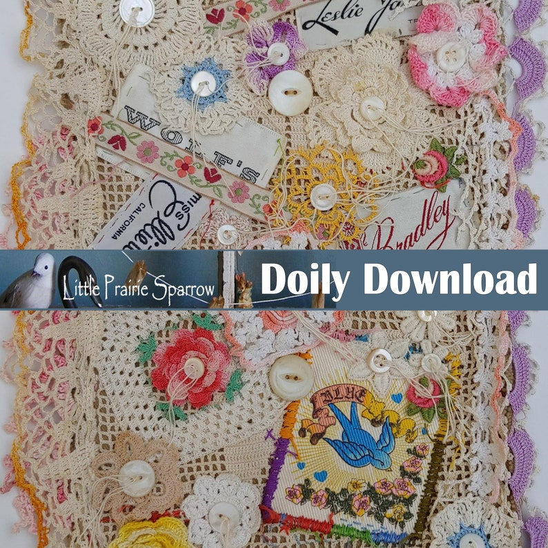 Vintage Doily Digital Download Printable Collage Sheet image 0
