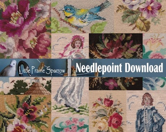 Digital Printable Vintage Needlepoint Collage Background, Journal Page Instant Download Collage Sheet