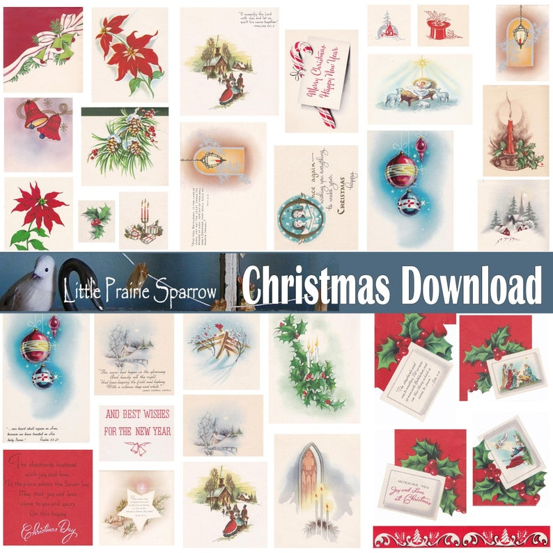 Vintage Christmas Images & Greetings Digital Download image 0
