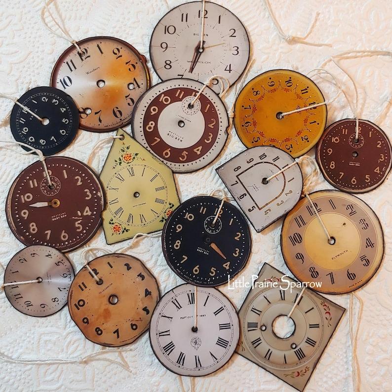 Christmas Ornaments Faux Vintage Clock Faces Paper image 0