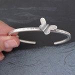 Butterly Cuff Bracelet - sterling silver hammered cuff oxidized matte modern patina