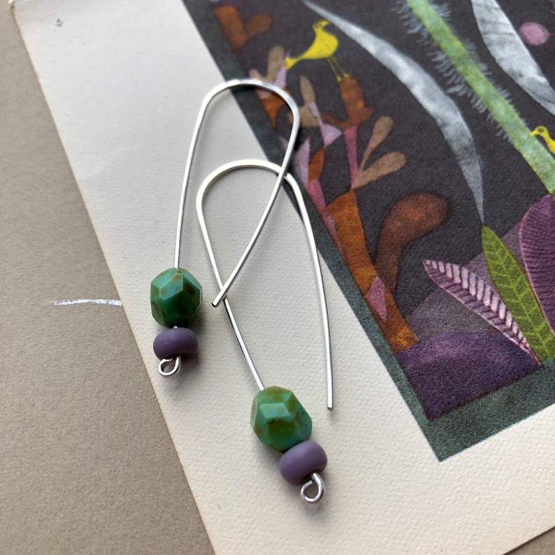 modern drop earrings sterling silver threader with glass beads