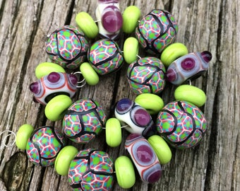 Mixed Set of Lime Green Lampwork Spacers, Funky Purple and Ivory Lampwork Disks and Handmade Polymer Clay Round Beads