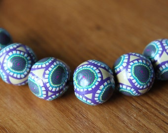New Set of Round Shaped Polymer Clay Artisan Made Beads in Millefiore Cane Slices Jewelry Supplies
