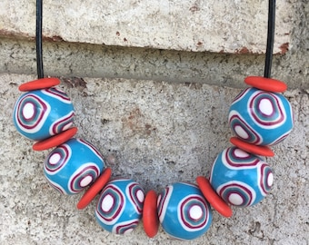 Handmade Chunky Bead Necklace from Polymer Clay on Leather