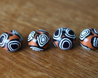 Small Set of Round Shaped Polymer Clay Artisan Made Beads in Millefiore Cane Slices Jewelry Supplies