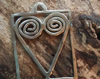 Handmade Artisan Sterling Silver Heart Spiral Square Pendant