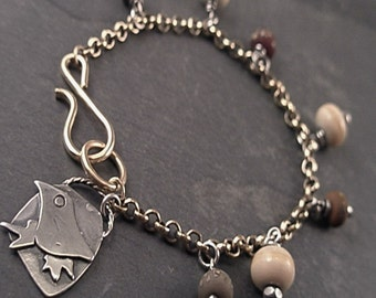 Wren Bracelet - Sterling Silver, Brass and Lampwork Beads