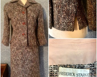 Fabulous , RARE 1950s Fall Toned Woven Nubly Tweed Suit, London Designer Frederick Starke, Excellent, Small