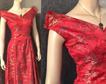 Stunning 1950s Asian Print Silk Brocade Off the Shoulder Cocktail Frock, Vibrant Fire Engine Red, Princess Waistline, Full Skirt, Small