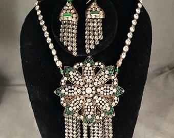 Stunning Antique Edwardian, Deco Paste, Rhinestone Statement, Runway Necklace Set, Emerald, Crystal