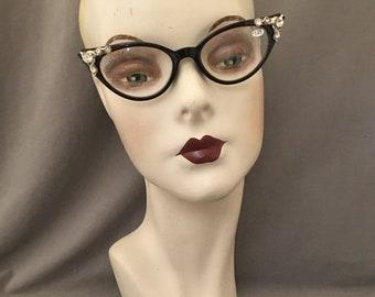 1950s Styled Jeweled Cat Eye Readers, Embellished, Vintage Rhinestones c. 1950s, 2.5,  Tortoise,  or Rose