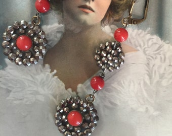 Antique Georgian, Victorian French Cut Steel and Bamboo Coral OOAK Assemblage Earrings, Revamped Components C. 1850-1910