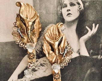 """Deco OOAK Vintage Pair of Dress Clips, Hair Clips, Hat Clips, Calla Lily, Butterfly, Gold Filigree, Alligator Clips, 3.5"""" x1.5"""""""