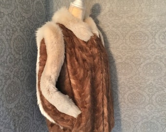 Fabulous 1980s Cocoa Brown Chevron Pattern  Mink and Artic Fox Jacket, Coat, Immaculate, Small, Medium, Great Styling