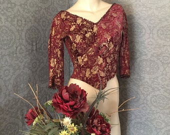 "Stunning Antique 1875 Beaded Bodice, Burgundy, Plum Silk Brocade, Historical Fashion, Boned , Lace Up ,Waist 22"", Very Good Condition"