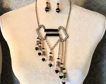 Stunning Antique Edwardian, Deco Paste, Rhinestone Statement, Runway Necklace Set, Onyx, Crystal, Bronze