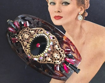 "Stunning Antique, Vintage OOAK Embellished, Jeweled Hair Comb, Faux Tortoise, Black, Red Stones, Gold Filigree, 4"" x 2"""