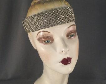 Spectacular, Large 7 Strand Authentic 1920s Paste, Rhinestone, Metallic Bullion Thread  Headband, Art Deco Headpiece, Bridal, Bandeau