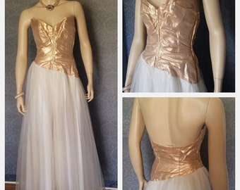 1950s Bombshell Wedding Gown,  Strapless Gold Lame' and White Net ,Tulle,  Bridal, Unusual Asymmetrical Waistline