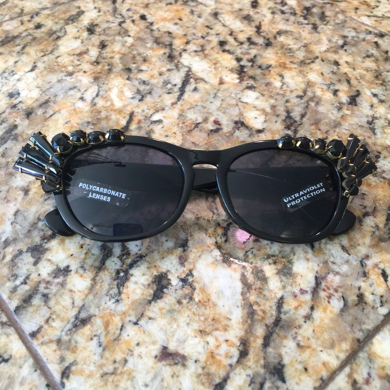 Jeweled Sunglasses with Vintage Mid Century Prong Set Glass image 0