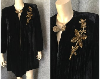 Gorgeous 1930s, 1940s Silk, Rayon Velvet 3/4 Length Coat, Sequins, Fabulous Cloak Clasp, Small - Medium