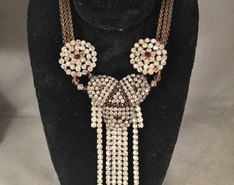 Stunning Antique Edwardian, Deco Paste, Rhinestone Statement, Runway Necklace Set, Crystal, Purple