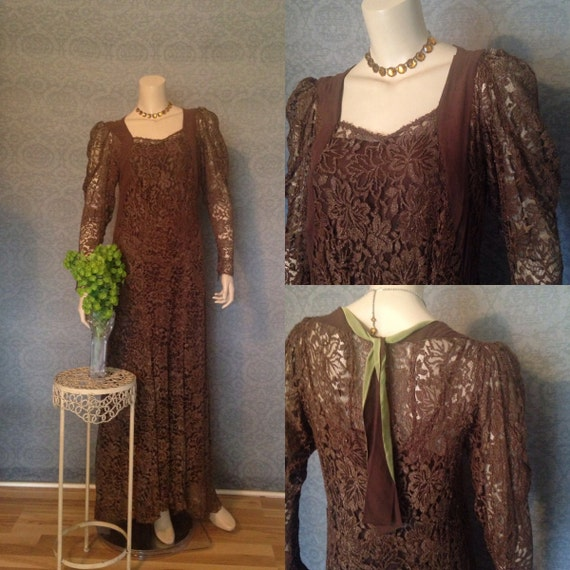 Late 1920s , Early 1930s  Gatsby Metallic Lace Gow