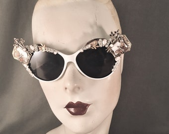 OOAK Hand Embellished, Jeweled Cateye Sunglasses, 1930s Art Deco Components, Butterflies, Roses, White