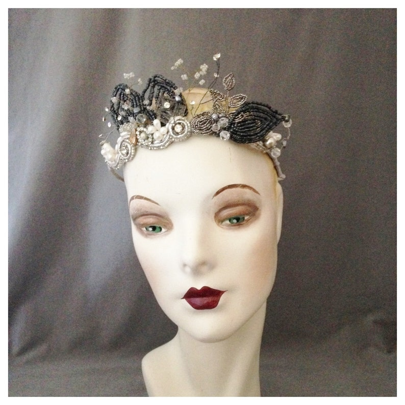 Bridal Crown Tiara   Vintage and Antique French Beaded image 0