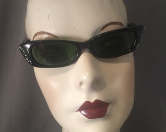 1950s French Sleek, Narrow Cateye Sunglasses, Tiny Iridescent AB Rhinestones, Excellent Condition, Prescription Lenses, Great Frames