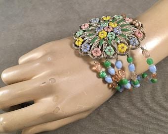 """Romantic Statement Assemblage Bracelet, Beaded, Antique Deco Dress Clip, Pastel, Floral, Silver,  7.5"""", Medium"""