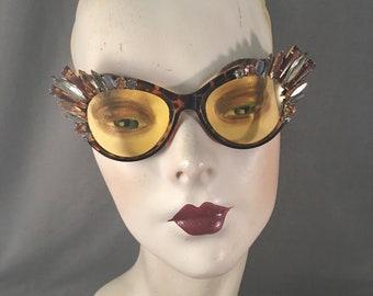 OOAK Hand Embellished, Jeweled Oversized Cateye Sunglasses, Topaz, Grey, Tortoise, Vintage Stones