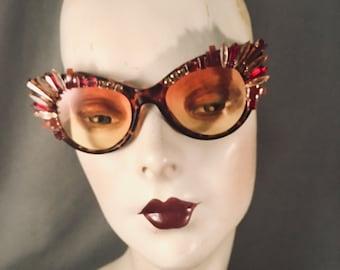 OOAK Hand Embellished, Jeweled Oversized Cateye Sunglasses, Topaz, Tortoise, Red, Carnelian, Vintage Stones