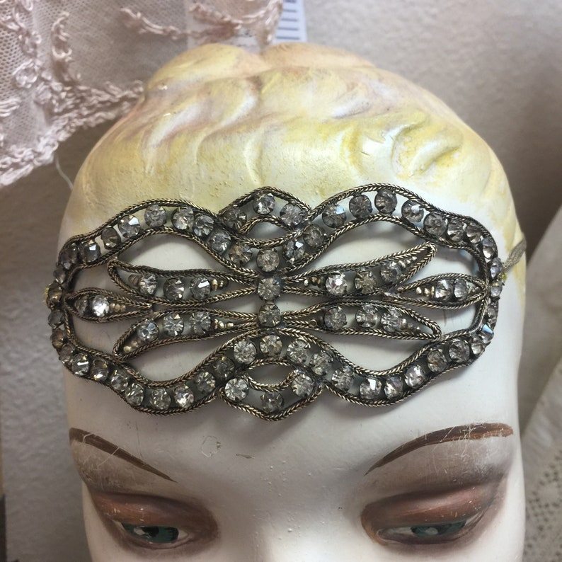 Stunning Antique  Gatsby Head Band Head Piece Authentic image 0
