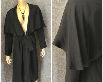 Very Deco 1920s, 1930s Inky Black Silk Duster Coat, Cape Collar, Great Condition, Petite - Small, Unlined, Lightweight