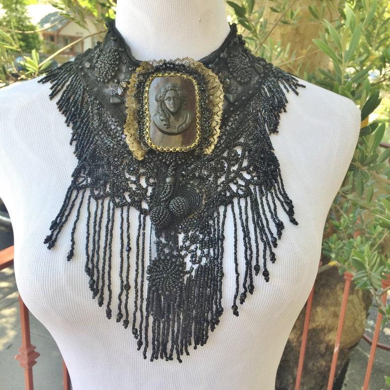 Statement Goth Victorian Assemblage Necklace Fringed BIB image 0
