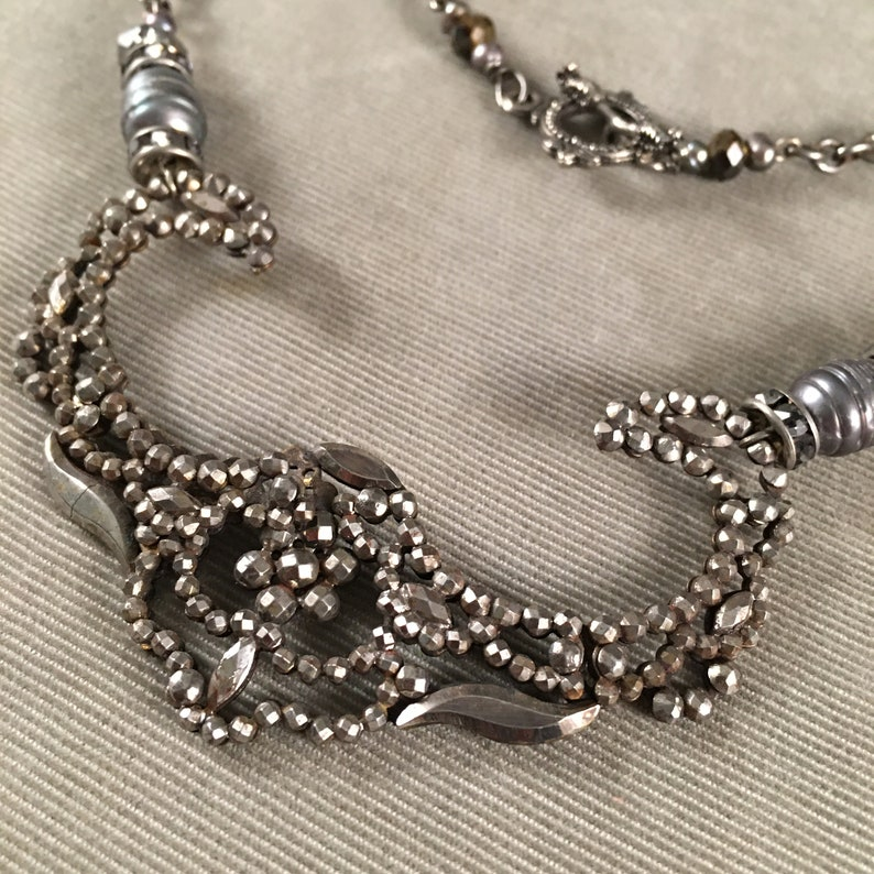 C Victorian French Cut Steel Beautiful Shape 1850-1910 Assemblage Necklace Freshwater Pearls Antique Georgian