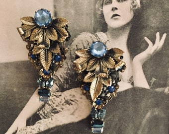 "Deco OOAK Vintage 1920s, 1930s Pair of Dress Clips, Hair Clips, Hat Clips, Blue, Bronze, Floral,  Alligator Clips, 2.5"" x1.5"""