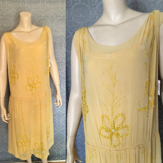 Charming 1920s  Beaded Silk Chiffon Gatsby Occasio
